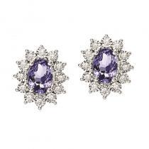 Silver Diamond & Tanzanite Earrings