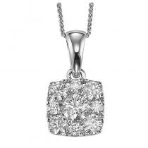 14K Diamond Pendant 1/4 ctw Cushion Shape