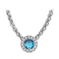 14K Aquamarine & Diamond Pendant