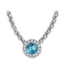 14K Blue Topaz & Diamond Pendant