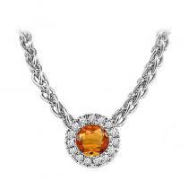 14K Citrine & Diamond Pendant