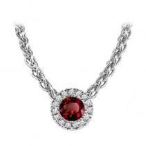 14K Garnet & Diamond Pendant