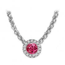 14K Pink Tourmaline & Diamond Pendant