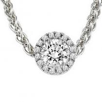 14K White Topaz & Diamond Pendant