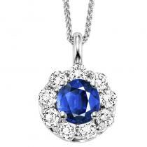 14K Sapphire & Diamond Pendant
