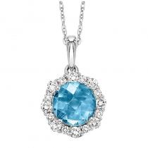 Silver with Round Blue Topaz Pendant