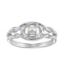 Silver Pearl Ring (Available In all BirthStones)