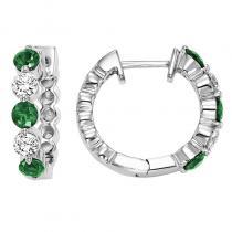 14K Emerald & Diamond Earrings