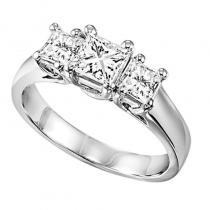 14K P/Cut Diamond 3 Stone Ring 1/2 ctw