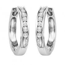 14K Diamond Channel Set Earrings 1 ctw