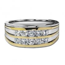 14K Diamond Men's Band 1 ctw