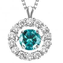 14K Blue Diamond Rhythm Of Love Pendant 1/2 ctw
