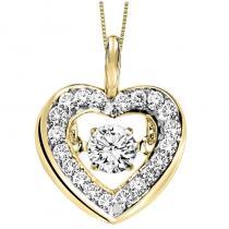 14KY Diamond Rhythm Of Love Pendant 1/3 ctw