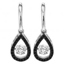 14K Black & White Diamond Rhythm Of Love Earrings 3/4 ctw