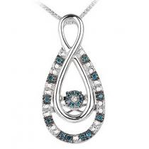 Silver Blue & White Diamond Rhythm Of Love Pendant 1/10 ctw