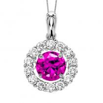 14K Diamond Rhythm Of Love Pendant 1 1/4 ctw (1 ct HP HT Pink Center)
