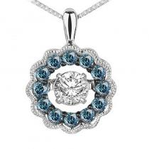 14K Blue & White Diamond Rhythm Of Love Pendant 3/8 ctw