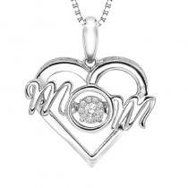Silver Diamond MOM Rhythm Of Love Pendant