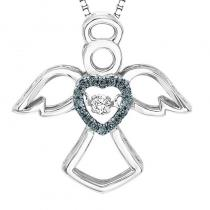 Silver Blue Diamond Rhythm Of Love Pendant 1/10 ctw