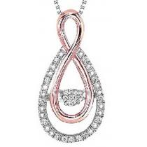 Silver & 10K Rose Gold Diamond Rhythm of Love Pendant 1/10 ctw