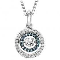 Silver Blue & White Diamond Rhythm of Love Pendant