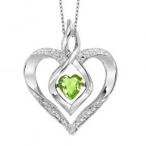 Silver Diamond & Created Peridot Pendant