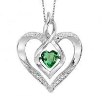 Silver Diamond & Created Emerald Pendant