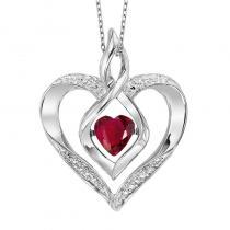 Silver Diamond & Created Ruby Pendant