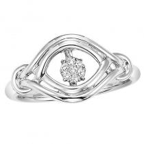 Silver Diamond Rhythm Of Love Ring 1/20 ctw