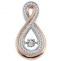 10K Rose & White Gold Diamond ROL Pendant 1/7 ctw