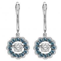 14K Blue & White Rhythm Of Love Earrings 1/2 ctw
