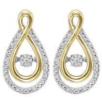 Silver & 10K Gold Diamond Rhythm Of Love Earrings
