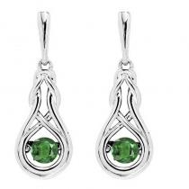 Silver Created Emerald Rhythm Of Love Earrings