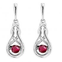 Silver Created Ruby Rhythm Of Love Earrings