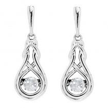 Silver Created White Topaz Rhythm Of Love Earrings