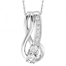 14K Diamond Two Stone Pendant 1/4 ctw