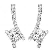 14K Diamond Two Stone Earrings 1 1/2 ctw