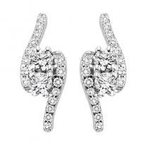 14K Diamond Two Stone Earrings 3/4 ctw