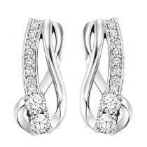 14K Diamond Two Stone Earrings 1/3 ctw
