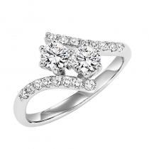 14K Diamond Two Stone Ring 1/4 ctw
