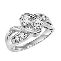 14K Diamond Two Stone Ring 1/2 ctw