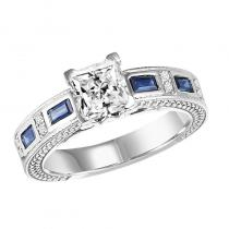 14K Sapphire & Diamond Ring With 1 ct Center Diamond