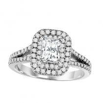 14K Diamond Engagement Ring With Accent Sapphires 5/8 gtw with 3/4 ct Radiant Center