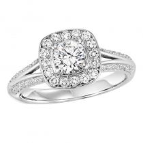14K Diamond Engagement Ring 3/8 ctw With 3/4 ct Center