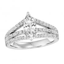 14K Diamond Engagement Ring 7/8 ctw With 1 ct MQ Center Diamond