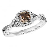 14K Diamond Engagement Ring 1 ctw including Brown Diamond Center