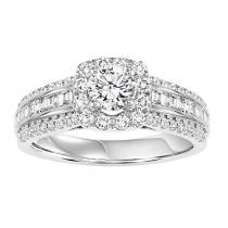 14K Diamond Engagement Ring 3/4 ctw With 1/2 ct Center