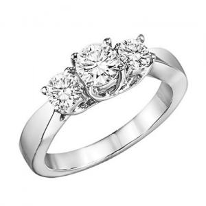 14K Diamond 3 Stone Ring 1/2 ctw