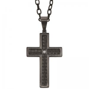 Steel and Black Leather Diamond Cross