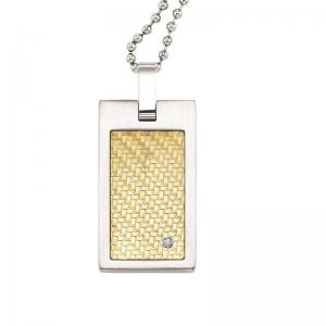 Steel and 18K Inlay Diamond Pendant